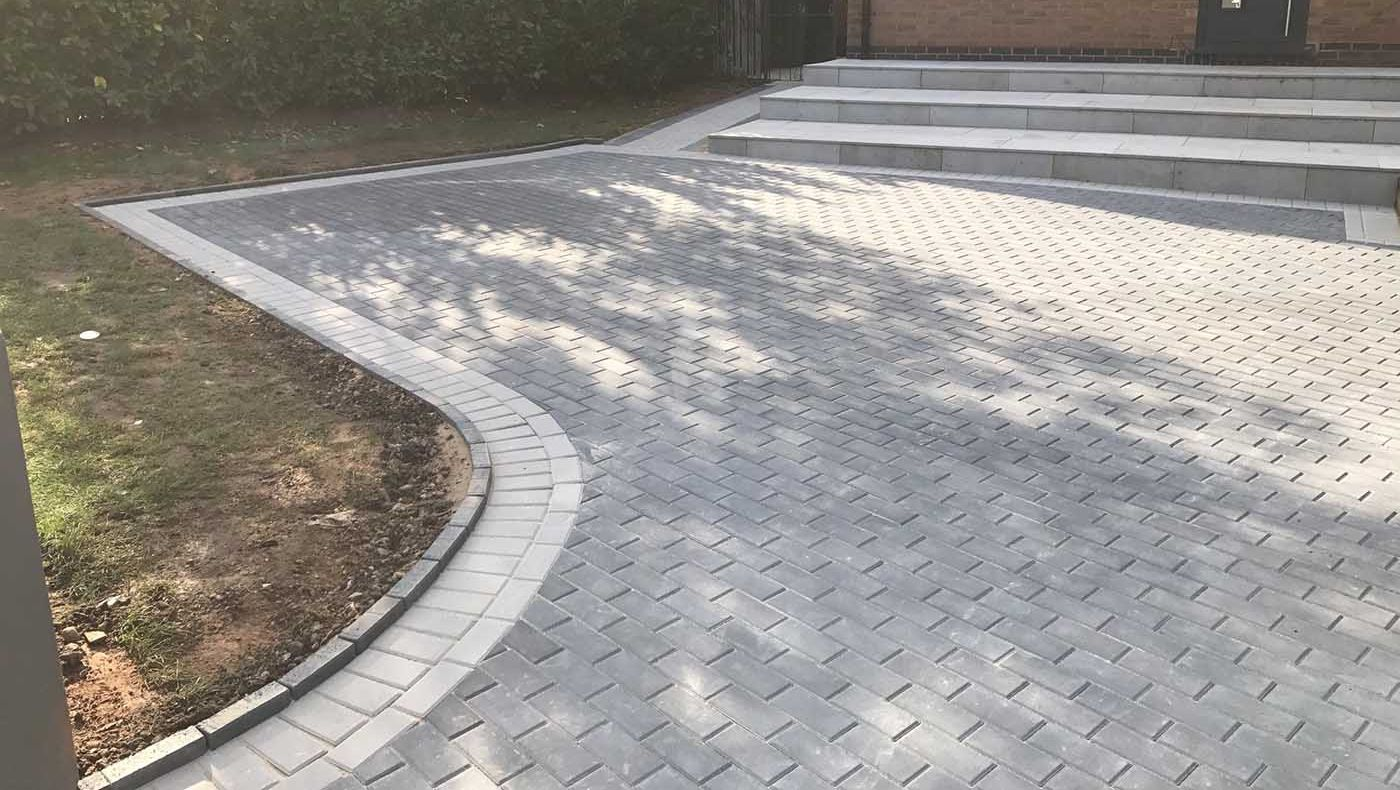 a grey brick driveway we have insstalled